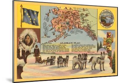 Alaska Map with Sled Dogs--Mounted Art Print