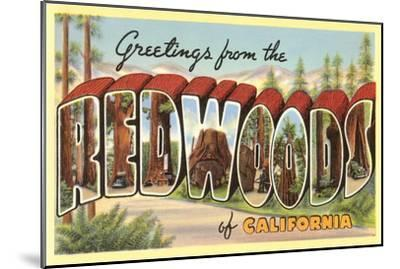 Greetings from Redwoods, California--Mounted Art Print