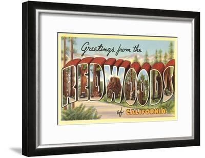 Greetings from Redwoods, California--Framed Art Print