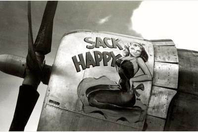 Nose Art, Sack Happy Pin-Up--Stretched Canvas Print