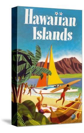 Hawaiian Islands Poster--Stretched Canvas Print