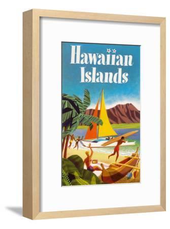 Hawaiian Islands Poster--Framed Premium Giclee Print