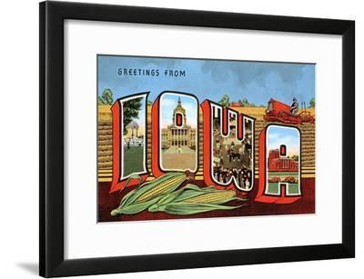Greetings from Iowa--Framed Art Print