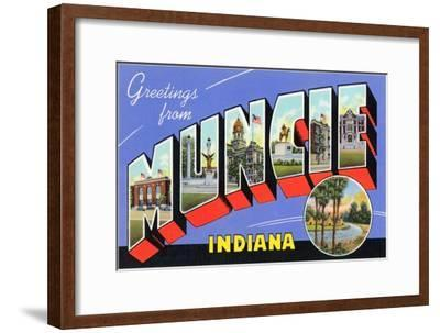 Greetings from Muncie, Indiana--Framed Art Print