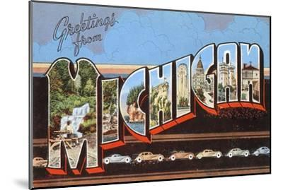 Greetings from Michigan--Mounted Art Print