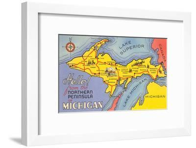 photograph relating to Printable Map of Upper Peninsula Michigan called Map of the Higher Peninsula, Michigan Artwork Print by way of