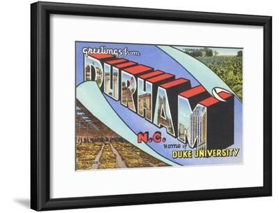 Greetings from Durham, North Carolina--Framed Art Print