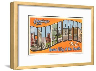 Greetings from Charlotte, North Carolina--Framed Art Print