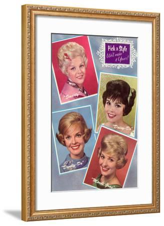Hair Styles, Retro--Framed Art Print