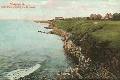 Cliff Walk, Breakers, Newport, Rhode Island--Stretched Canvas Print