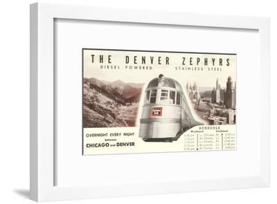 Schedule for Denver Zephyr Train--Framed Art Print