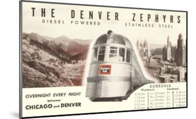 Schedule for Denver Zephyr Train--Mounted Art Print