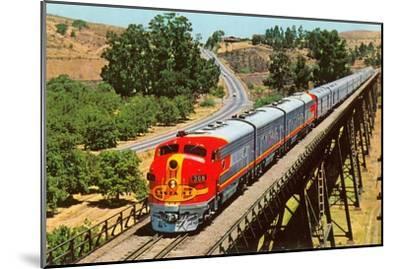 Streamlined Train on Trestle--Mounted Art Print