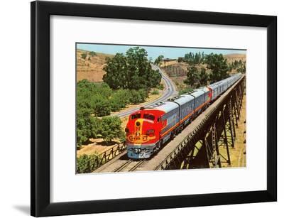 Streamlined Train on Trestle--Framed Art Print