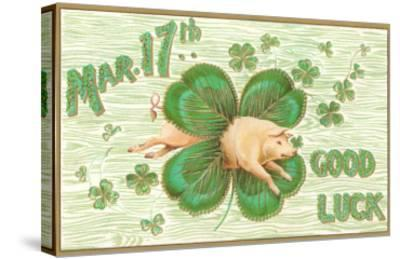 St. Patrick's Day, Pig and Shamrock--Stretched Canvas Print