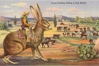 Texas Cowboy Herding from Jack Rabbit--Stretched Canvas Print