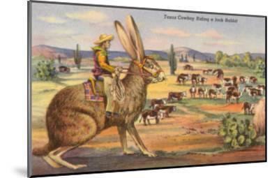 Texas Cowboy Herding from Jack Rabbit--Mounted Art Print