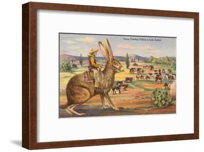 Texas Cowboy Herding from Jack Rabbit--Framed Art Print