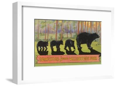 Greetings from Yellowstone National Park, Bears--Framed Art Print
