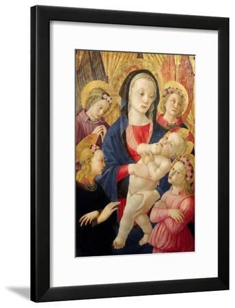 Madonna and Child with Angels- Master Of The Castello Nativity-Framed Giclee Print
