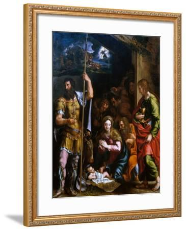Adotation of the Shepherds with the Saints Longinus and John the Evangelist-Giulio Romano-Framed Giclee Print