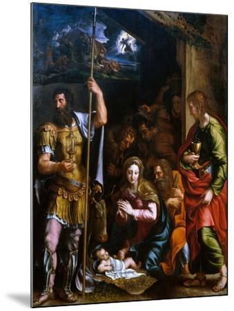 Adotation of the Shepherds with the Saints Longinus and John the Evangelist-Giulio Romano-Mounted Giclee Print