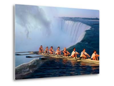 Rowers Hang Over the Edge at Niagra Falls, US-Canada Border-Janis Miglavs-Metal Print
