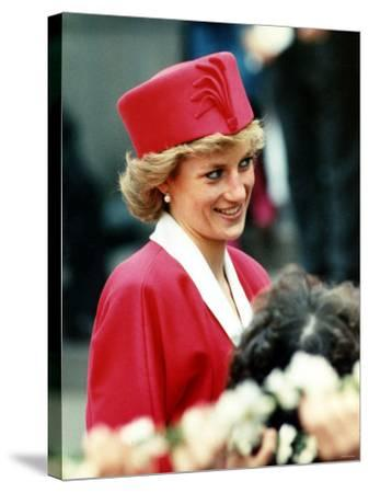 Princess Diana, on Walkabout During Visit Wearing Red Suit and Red Pillbox Hat, May 1989--Stretched Canvas Print