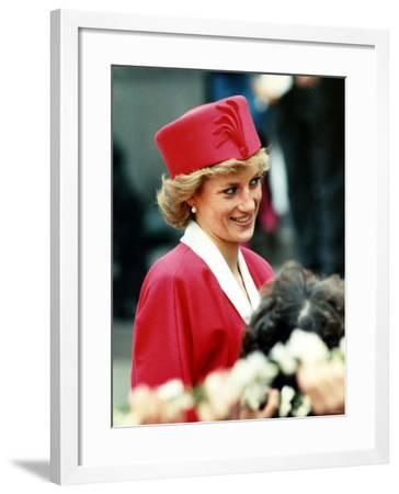 Princess Diana, on Walkabout During Visit Wearing Red Suit and Red Pillbox Hat, May 1989--Framed Photographic Print