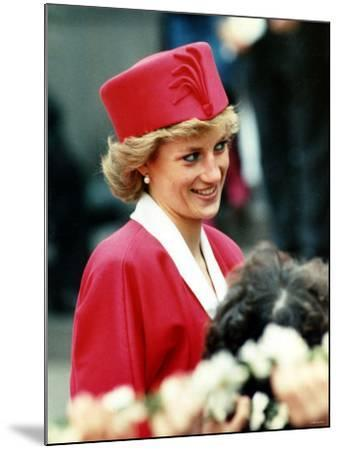 Princess Diana, on Walkabout During Visit Wearing Red Suit and Red Pillbox Hat, May 1989--Mounted Photographic Print
