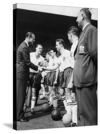 Prince Philip Meets the Bolton Players at the FA Cup Final Against Manchester United--Stretched Canvas Print