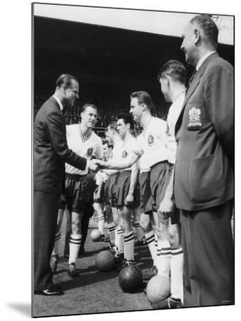 Prince Philip Meets the Bolton Players at the FA Cup Final Against Manchester United--Mounted Photographic Print