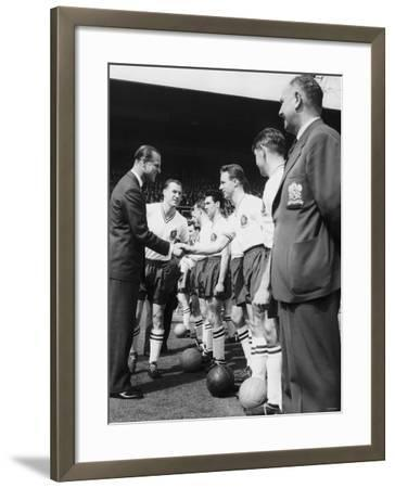Prince Philip Meets the Bolton Players at the FA Cup Final Against Manchester United--Framed Photographic Print