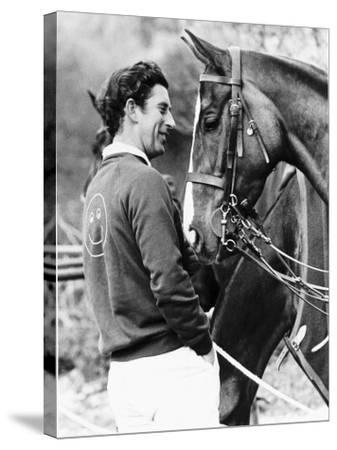 Prince Charles with His Polo Pony Pan's Folly May 1977--Stretched Canvas Print