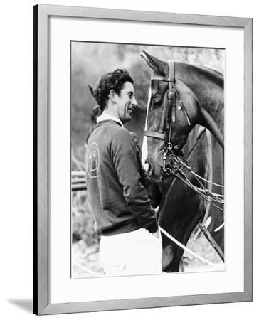 Prince Charles with His Polo Pony Pan's Folly May 1977--Framed Photographic Print
