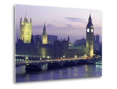 Houses of Parliament at Night, London, England-Walter Bibikow-Metal Print