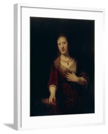 Saskia With a Red Flower-Rembrandt van Rijn-Framed Giclee Print