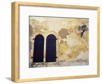 Paint Peeling Off an Antique Wall and Shuttered Windows and a Lantern-Jason Edwards-Framed Photographic Print