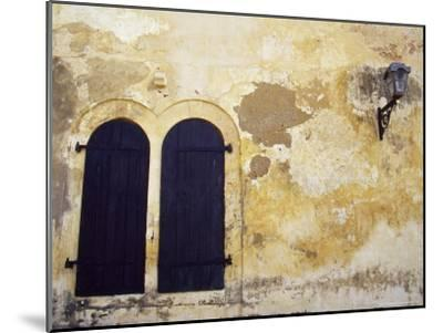 Paint Peeling Off an Antique Wall and Shuttered Windows and a Lantern-Jason Edwards-Mounted Photographic Print