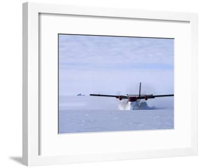 Twin Otter Departs From Base Camp Below the Rakekniven Spire-Gordon Wiltsie-Framed Photographic Print