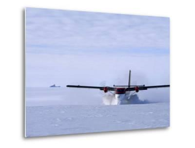 Twin Otter Departs From Base Camp Below the Rakekniven Spire-Gordon Wiltsie-Metal Print