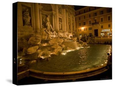 The Trevi Fountain at Night-Stephen Alvarez-Stretched Canvas Print