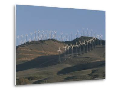 Rows of Spinning Wind Turbines Generate Electricity-Marc Moritsch-Metal Print