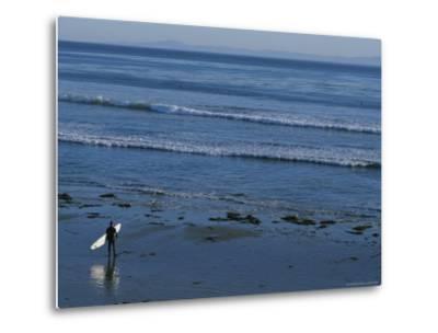 Longboard Surfer Watches the Surf Break on an Isla Vista Beach-Rich Reid-Metal Print