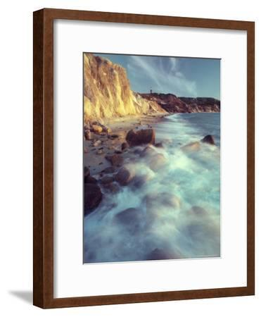 Ghostly Surf on Rocky Beach at Gay Head Point-Michael Melford-Framed Photographic Print
