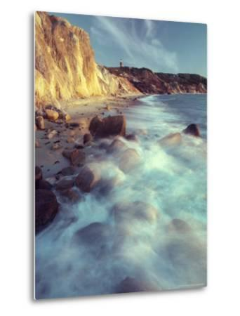 Ghostly Surf on Rocky Beach at Gay Head Point-Michael Melford-Metal Print