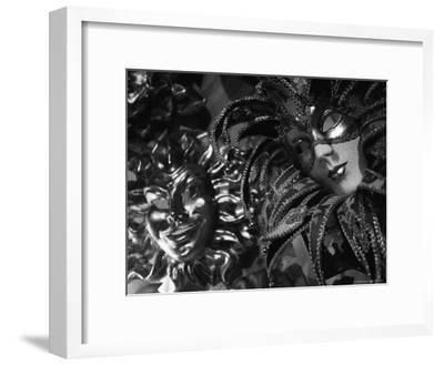 Carnival Masks in Black and White Displayed on a Wall in Venice-Todd Gipstein-Framed Photographic Print