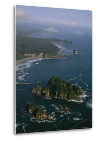 Aerial View of Washington's Coastline with Sea Stacks-Melissa Farlow-Metal Print
