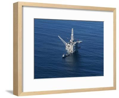 Aerial View of an Oil Rig in the Santa Barbara Channel-Rich Reid-Framed Photographic Print