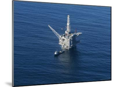 Aerial View of an Oil Rig in the Santa Barbara Channel-Rich Reid-Mounted Photographic Print